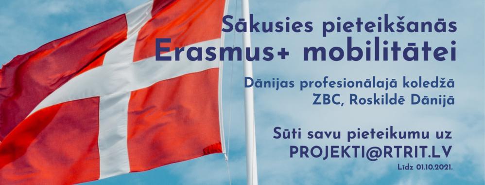 Sākusies pieteikšanās ERASMUS+ mobilitātēi Dānijā